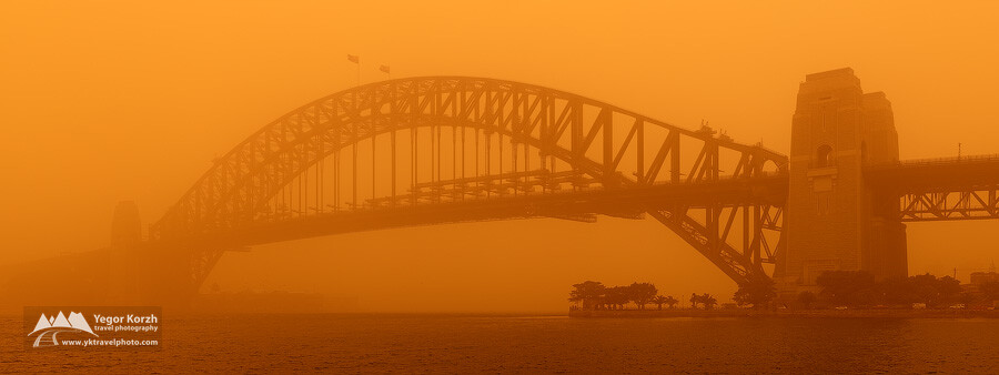 Sydney Harbour Bridge Panorama during The Dust Storm, Sydney, Australia